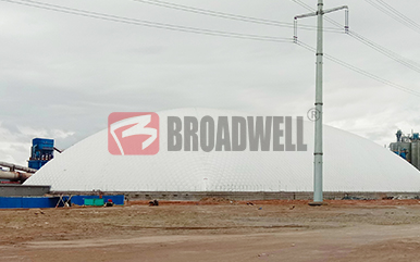 新疆宜化化工有限公司建材分厂气膜熟料堆棚封闭