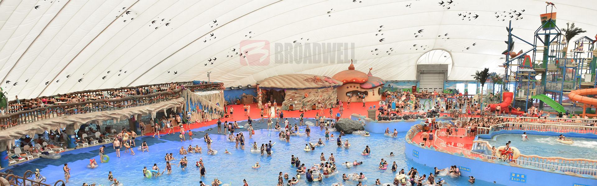 跨度110m智能恒温气膜水上乐园——新疆神木园气膜水上乐园